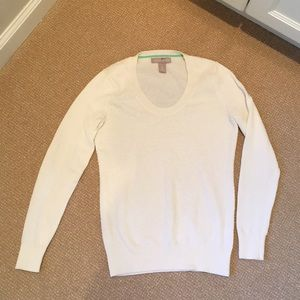 Banana Republic Ivory Sweater w/ Pretty Knit Front
